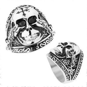 Ocelový prsten stříbrné barvy, lesklá lebka s křížem, řetízky, patina - Velikost: 59 obraz