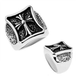 Prsten stříbrné barvy, chirurgická ocel, lesklý kříž s rozdělenými cípy - Velikost: 59 obraz