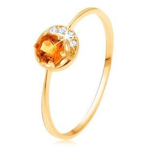 Prsten ze žlutého 14K zlata - úzký srpek měsíce, žlutý citrín, zirkonky čiré barvy - Velikost: 55 obraz