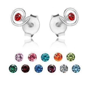 Stříbrné 925 náušnice, blýskavá spirála, barevný krystalek Swarovski - Barva: Světlemodrá obraz