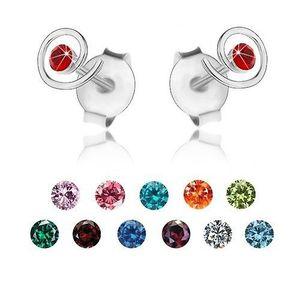 Stříbrné 925 náušnice, blýskavá spirála, barevný krystalek Swarovski - Barva: Tmavočervená obraz