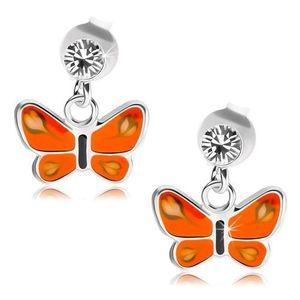 Puzetové náušnice, stříbro 925, čirý krystal, motýl s oranžovými křídly obraz
