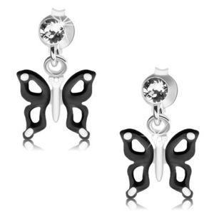 Stříbrné náušnice 925, černobílý motýlek s výřezy na křídlech, krystal obraz
