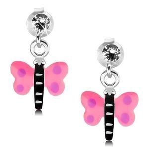 Stříbrné 925 náušnice, motýlek s růžovými křídly a fialovými tečkami obraz