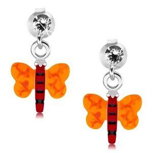 Stříbrné 925 náušnice, motýlek s červeným tělem a oranžovými křídly obraz