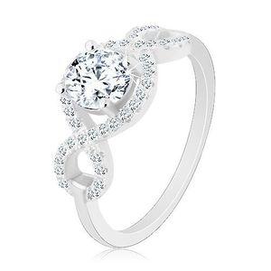 Zásnubní prsten, stříbro 925, zirkonové vlnky, kulatý broušený zirkon - Velikost: 57 obraz