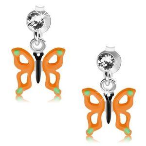 Puzetové náušnice, stříbro 925, motýl s oranžovými křídly, výřezy, krystal obraz
