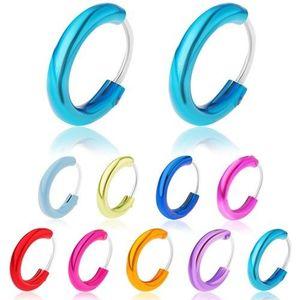 Stříbrné 925 náušnice, širší glazovaný kroužek, metalické odstíny, 12 mm - Barva: Fuchsiová obraz