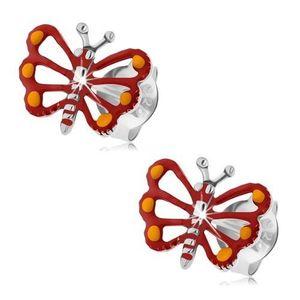 Stříbrné náušnice 925, červený motýlek s vyřezávanými křídly, patina obraz