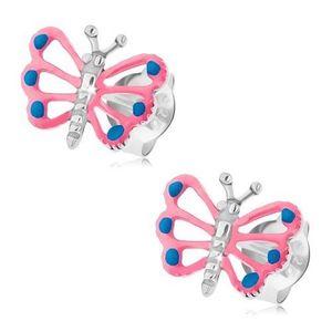 Puzetové náušnice, stříbro 925, motýlek s růžovými křídly, výřezy obraz