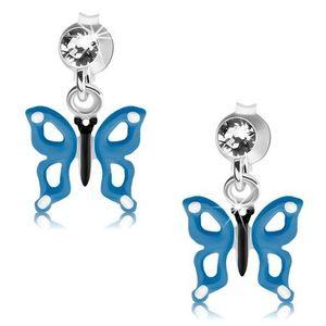 Stříbrné náušnice 925, modrobílý motýlek s výřezy na křídlech, krystal obraz