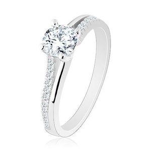 Stříbrný prsten 925, rozdělená ramena s třpytivou polovinou, čirý zirkon - Velikost: 53 obraz