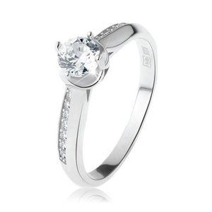 Zásnubní prsten, stříbro 925, oblá zdobená ramena, čirý kulatý zirkon - Velikost: 54 obraz