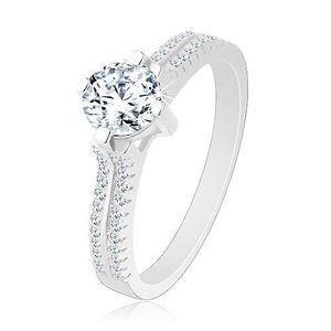 Stříbrný prsten 925, vyvýšený kulatý zirkon, čiré zirkonové linie - Velikost: 51 obraz