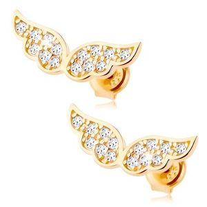 Zlaté náušnice 585 - třpytivá andělská křídla vykládaná čirými zirkonky obraz