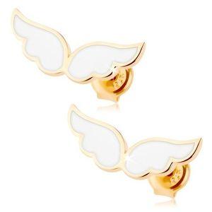 Zlaté náušnice 585 - andělská křídla zdobená bílou glazurou, puzetky obraz