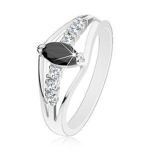 Třpytivý prsten ve stříbrném odstínu, čiré zirkonové linie, barevné zrnko - Velikost: 59, Barva: Růžová obraz