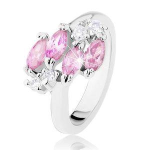 Lesklý prsten ve stříbrné barvě, růžová zirkonová zrnka, čiré zirkonky - Velikost: 59 obraz
