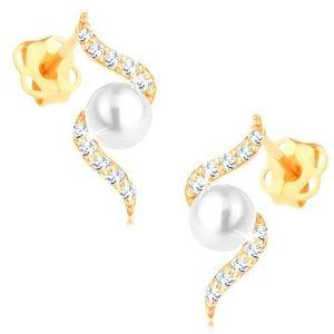 Náušnice ze žlutého 14K zlata - třpytivá spirála s perlou bílé barvy obraz