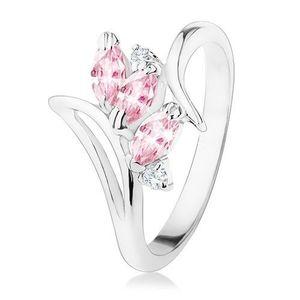 Prsten stříbrné barvy, zahnutá ramena, růžové a čiré zirkony - Velikost: 59 obraz