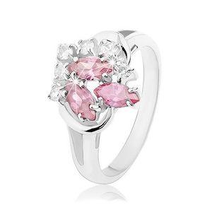 Prsten s rozdvojenými rameny, čiré zirkonky, zrnka růžové barvy - Velikost: 59 obraz