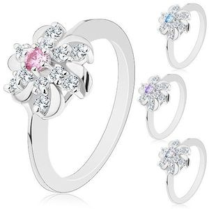 Prsten stříbrné barvy, čirý květ s barevným středem a lesklými obloučky - Velikost: 59, Barva: Světle fialová obraz