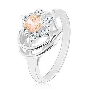 Prsten s lesklými rameny, zirkonový květ v čiré a světle oranžové barvě - Velikost: 55 obraz