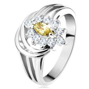 Prsten s rozvětvenými rameny, světle zelené broušené zrnko s čirým lemem - Velikost: 59 obraz