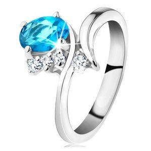 Lesklý prsten ve stříbrné barvě, oválný akvamarínový zirkon, úzká ramena - Velikost: 51 obraz