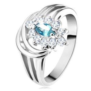 Lesklý prsten s rozvětvenými rameny, světle modré zirkonové zrnko, obloučky - Velikost: 59 obraz