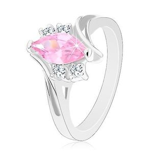 Blýskavý prsten se zářezem na ramenech, zirkony v růžové a čiré barvě - Velikost: 59 obraz