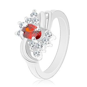 Prsten ve stříbrném odstínu, oranžový ovál, čiré zirkonky, lesklé oblouky - Velikost: 51 obraz