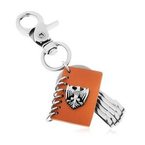 Přívěsek na klíče s patinovaným povrchem, hnědá umělá kůže, znak orla obraz
