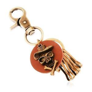 Přívěsek na klíče v mosazném odstínu, hnědý kruh, lebka v klobouku obraz