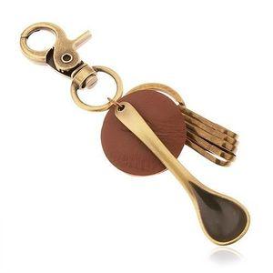 Přívěsek na klíče v mosazném odstínu, kruh z hnědé umělé kůže, lžíce obraz