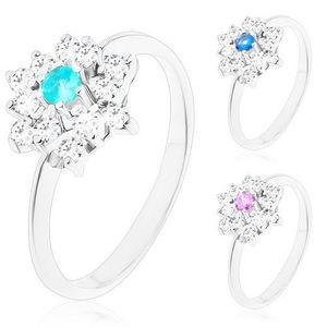 Prsten stříbrné barvy, zářivý zirkonový květ s barevným středem - Velikost: 58, Barva: Modrá světlá obraz