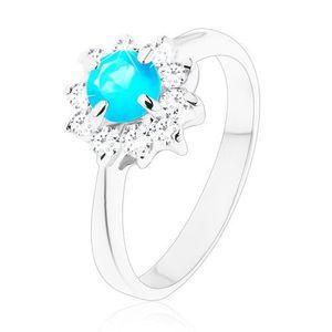 Lesklý prsten s úzkými hladkými rameny, zirkonový květ modré a čiré barvy - Velikost: 49 obraz