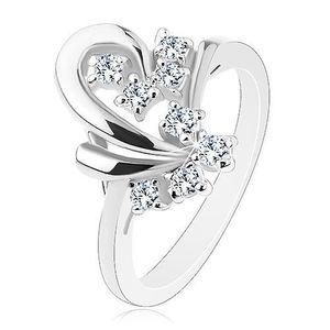 Prsten s lesklým povrchem, obrys poloviny srdíčka, transparentní zirkonky - Velikost: 48 obraz