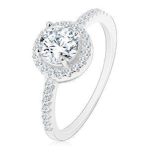 Stříbrný 925 prsten, čirý kulatý zirkon s čirým lemem, zdobená ramena - Velikost: 54 obraz