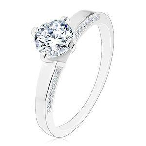 Stříbrný prsten 925 - zásnubní, blýskavý broušený zirkon, zdobená ramena - Velikost: 57 obraz