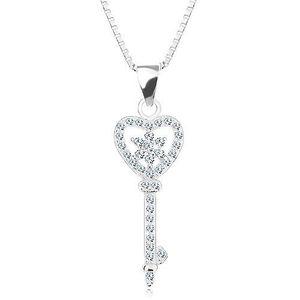 Stříbrný 925 náhrdelník - řetízek s přívěskem, zirkonový klíč - srdce, květ obraz