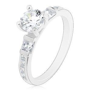 Zásnubní prsten, stříbro 925, velký kulatý zirkon, třpytivá ramena - Velikost: 51 obraz