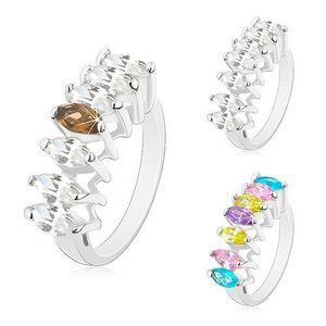 Prsten ve stříbrném odstínu, linie broušených zrnkovitých zirkonů - Velikost: 59, Barva: Čirá obraz