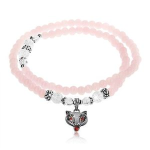 Elastický náramek, lesklé růžové a čiré kuličky, ocelové korálky, liška obraz