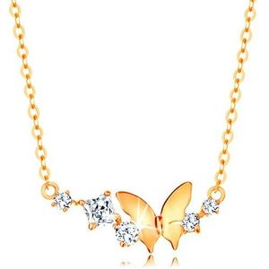 Zlatý náhrdelník 585 - jemný řetízek, motýl a oblouk z čirých třpytivých zirkonů obraz