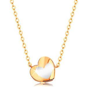 Zlatý náhrdelník 585 - lesklé srdíčko s bílou glazurou, řetízek obraz