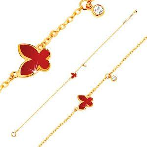 Náramek ve žlutém 14K zlatě - glazovaný červený motýl a kulatý zirkonek čiré barvy obraz
