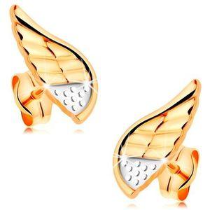 Náušnice v kombinovaném 14K zlatě - blýskavé andělské křídlo s tečkami a zářezy obraz