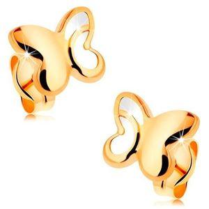 Zlaté 14K náušnice - lesklý motýl s vyřezávanou částí na křídlech obraz