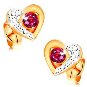 Zlaté náušnice 585 - růžový rubín ve dvoubarevném obrysu srdce, gravírování obraz